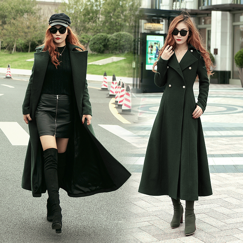 2018 New Style Fashion Long Winter Coat Women's Turn down Collar Slim Double Breasted black Jackets Ladies high quality 100%