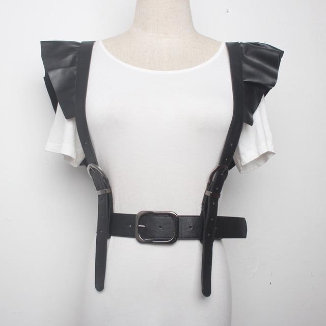 732105711d 2019 New Fashion Black PU Leather Flounced Waist Corset For Ladies  Underbust Corset Cincher Body Shaper Belt Lace
