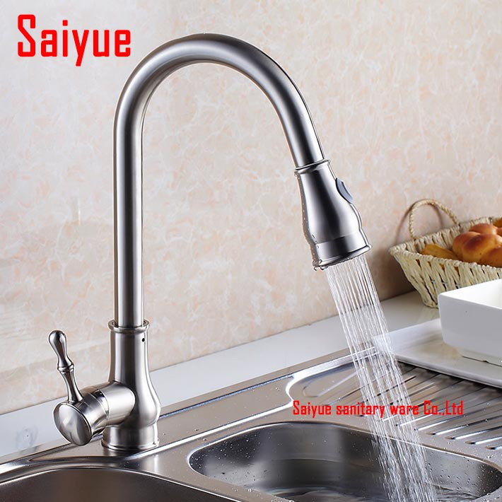 Hot and Cold Water Pull Out Kitchen sink Faucet -deck mounted nickel brushed Spray Kitchen Mixer Tap good quality brushed nickel kitchen faucet deck mounted hot and cold water pull out sstream sprayer spout kitchen mixer tap