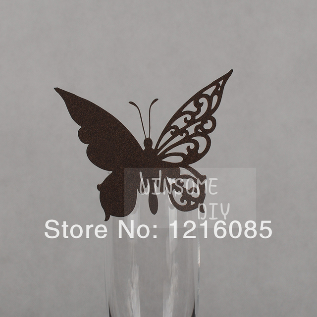 Cheap Wine Glass Marker Cards Wine Glass Markers Chocolate Butterfly