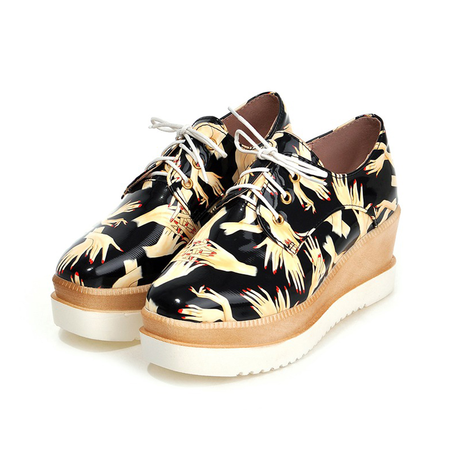 ФОТО Women Flats Oxford Derby Creeper Lace-up PU Print Patent Leather Wedge Platform Square Toe Sexy Casual Party Ladies Shoes Black