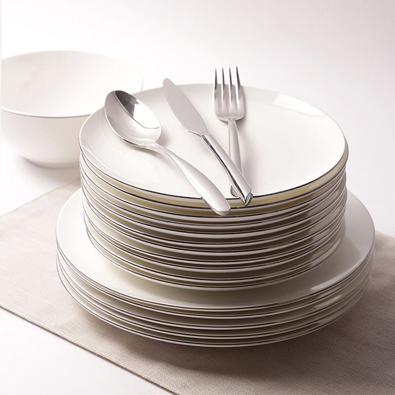 Dinnerware High Quality Plate Dish White Porcelain On-glazed Round 8 Inches 10 Inches Platinum Rim Steak Plates Food Cake Dishes