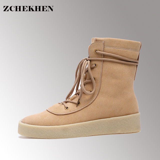 3cc5a3bb7c1 Four Season Crepe Bottom Men Shoes Platform Suede Military Boots Casual  Combat Boots Hip Hop Kanye Martin West Boots  12m