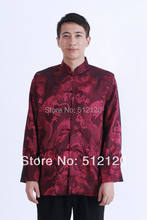 Shanghai Story chinese jacket for men chinese traditional clothing full dragon print jacket chinese traditional clothing Red(China)