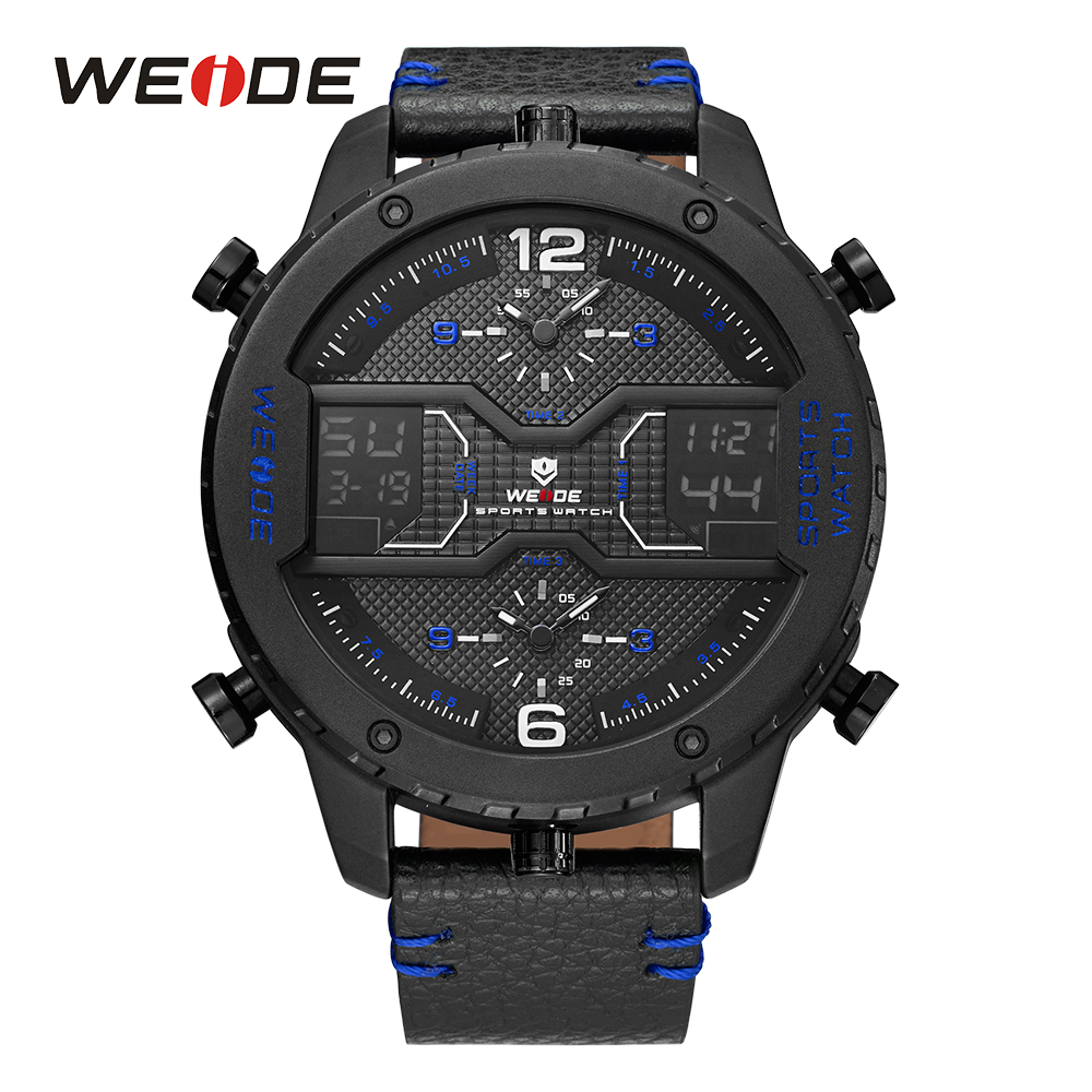 WEIDE Men Three Time Zone Analog Sport Digital Leather Strap Buckle Hardlex Calendar Auto Date Quartz Water Resistant Wristwatch weide men watches clock analog quartz movement calendar date black leather strap band buckle hardlex wristwatches for sport
