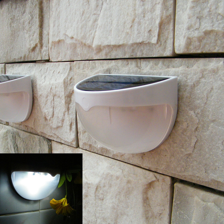 2PCS/Lot 6 LED Outdoor Waterproof Solar Lamp  Garden Decoration Solar Power Panel Landscape Lawn Fence Wall LED Solar light Lamp