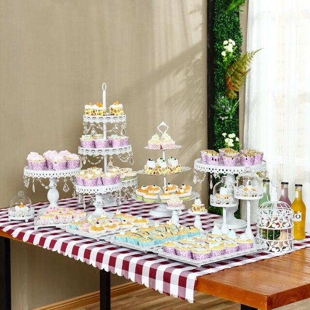13pcs/set White Cake Stand with crystal beads Cupcake Pan Display ...