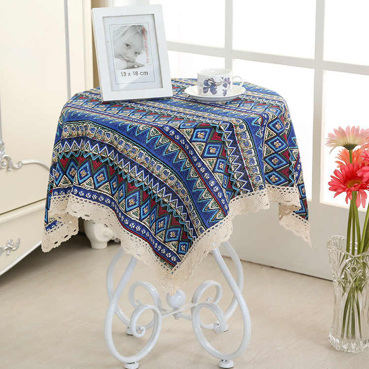 Square Coffee Table Small Round Tablecloth Cotton Linen Cloth Rectangular Living Room Multi