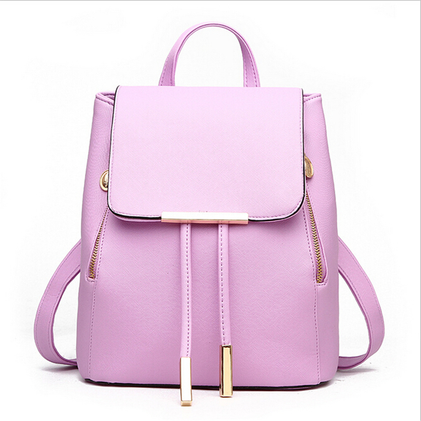 Women Backpack High Quality PU Leather Mochila Escolar School Bags For Teenagers Girls Leisure Backpacks Candy Color women vintage backpack high quality pu leather mochila escolar school bag for teenagers girls top handle casual large backpacks