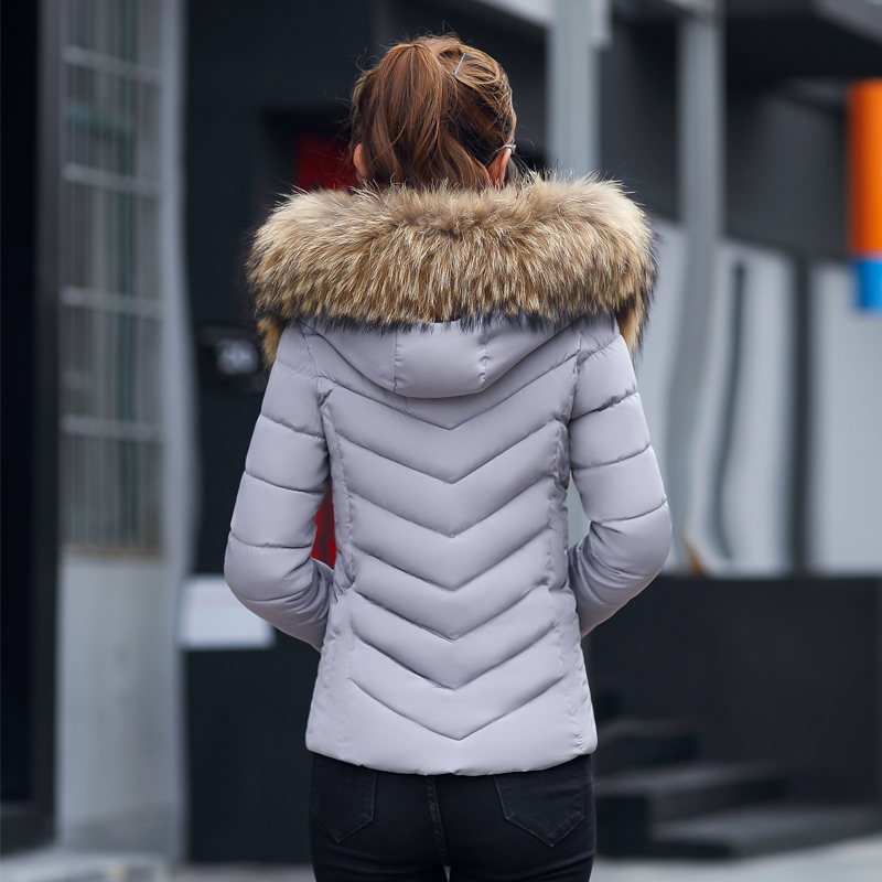 Plus Size 3XL 4XL Female Coat Autumn With Fur Collar Hooded Cotton Padded Winter Jacket Women Short Outwear Basic Jacket  4