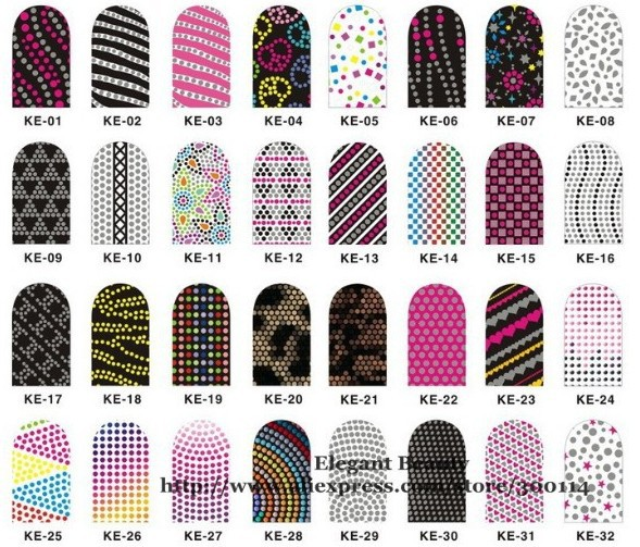 Whole 2017 New Arrival Mix 192 Style 3d Nail Sticker Foil 12 Tips Colorful