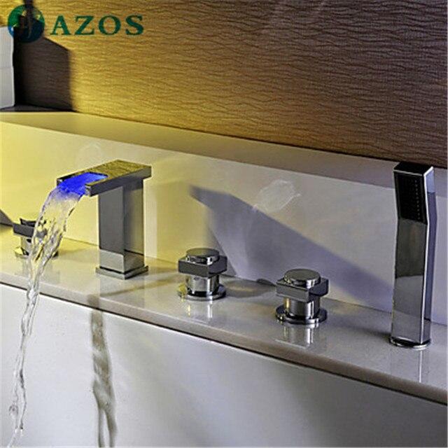 Bathtub Shower Faucets LED  Bathroom Suana 5pc Sets Showerhead,Diverter,Two Handles,Shower Hose,Waterfall Spout YGWJ085B