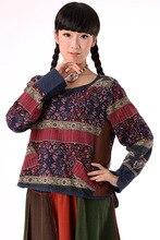 Original 2017 New Women 's Patchwork Style Shirt Shirt Bottom Shirt Spring Cotton and Hemp Shirt