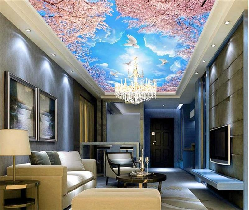 3d ceiling murals wallpaper custom photo non-woven Blue sky clouds cherry tree painting 3d wall mural wallpaper for living room 3d ceiling murals wallpaper custom photo non woven sky dandelion dove leaves painting 3d wall mural wallpaper for living room