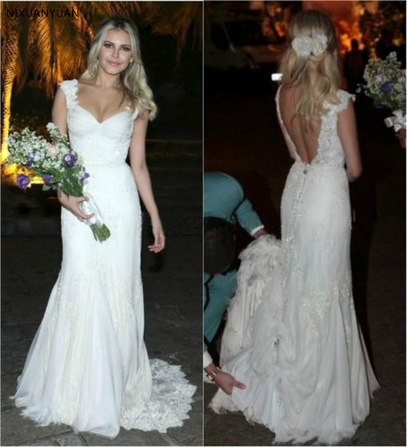 2020 Sexy Full Lace Wedding Dresses Cap Sleeve Sexy Backless A Line V Neck Bridal Gowns Covered Button Country Wedding Gowns