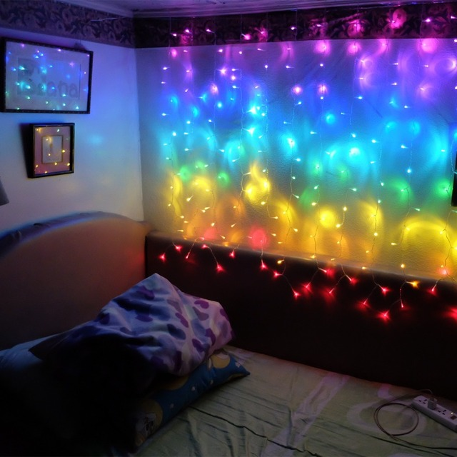 Connect 2M Rainbow Led Curtain Icicle String Lights Led Fairy Lights Christmas Lamps Icicle