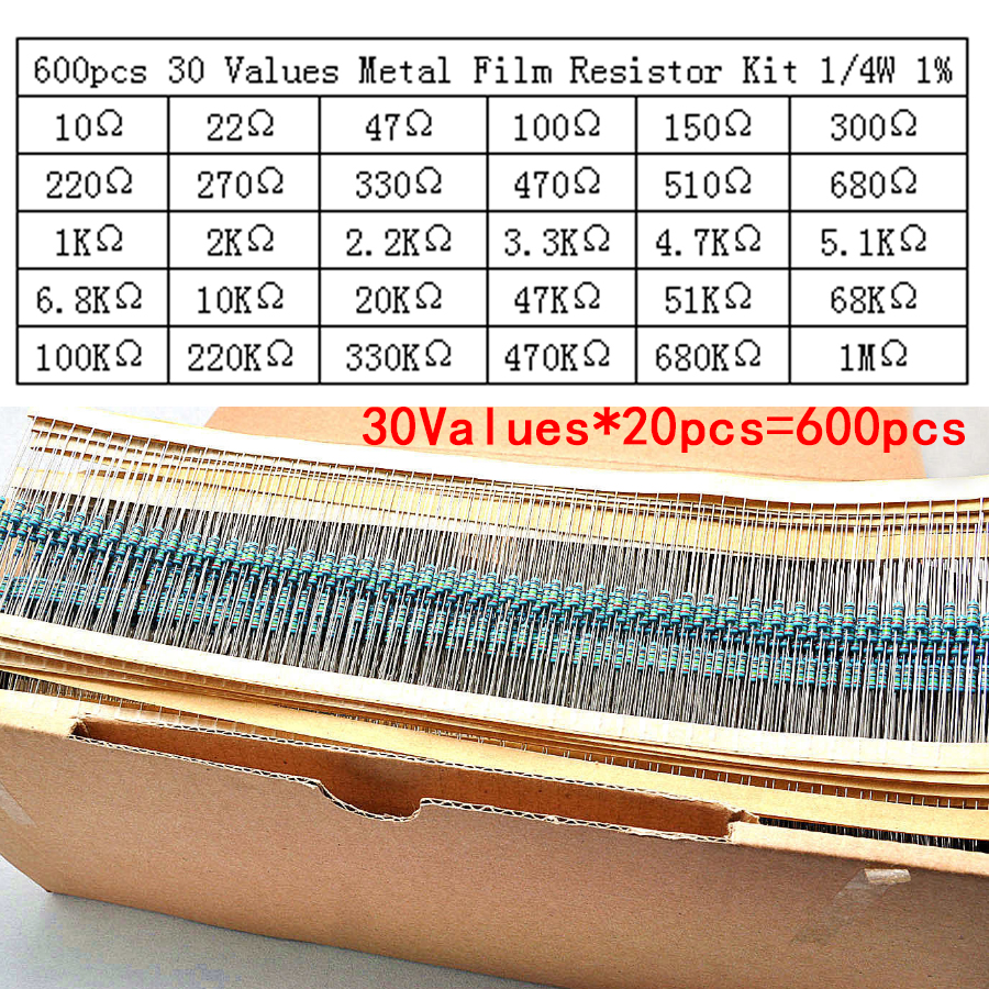 600pcs/lot 30Values* 20pcs 1% 1/4 W resistor pack use a colored ring resistance (10 ohms ~ 1 M ohm) each value 20pcs 20pcs lot ls30 to252