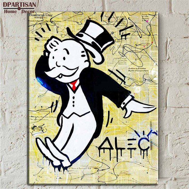 Alec monopoly THINKING HAT wall street arts canvas print POP ART ...
