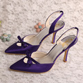 Wedopus Italian Women Pointed Toe Dress Shoes Wedding Purple Satin Stiletto Heels Size 9