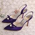 Wedopus Italiano Vestido de Las Mujeres Del Dedo Del Pie Puntiagudo Zapatos de La Boda Púrpura de Satén Estilete de Tacón Talla 9