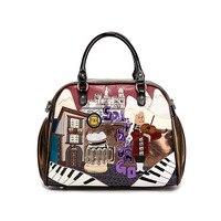 Summer Cuba Braccialini Style Italy Handcraft Art Design Women Handbag With Retro Splicing Messenger Bag