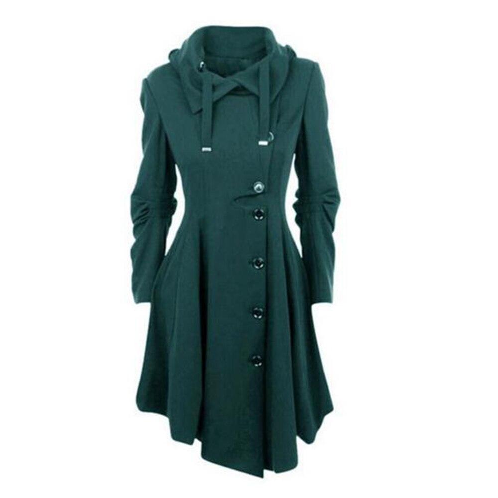 Vintage Élégant Col vert Manteau Noir Tranchée Mode Femmes Noir bourgogne Médiévale 2019 Femelle Stand camel Gothique Plusee Longue D'hiver rouge nx7PwAq