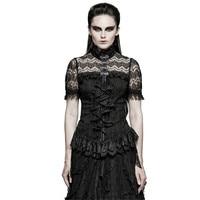 Gothic Women Lace Ruffles Shirts Gothic Black Cotton High Collar Tunic Blouse Mesh Skinny Shirt Blouses