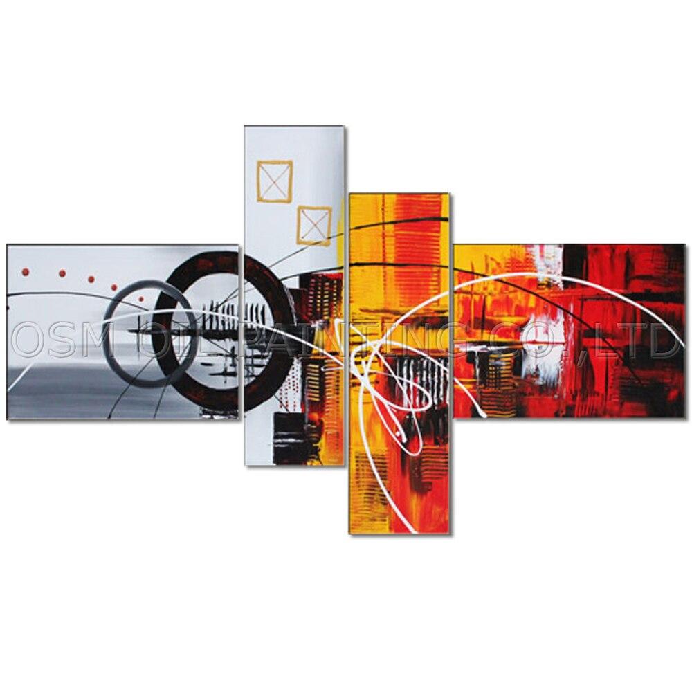 Top artiste fait à la main de haute qualité moderne mur Art peinture 4 panneaux abstraite image Unique abstraite peinture à l'huile pour salon