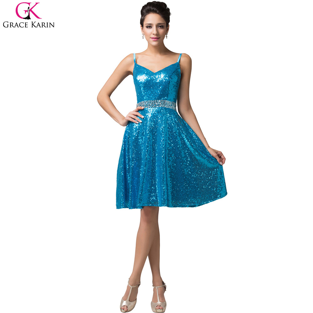 Grace Karin Short Evening Dresses Straps V Neck Gold Blue Sequins ...