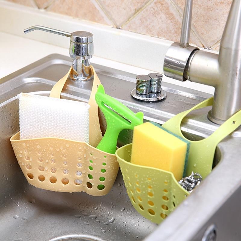 Storage Holder Adjustable Snap Sink Sponge Storage Rack Hanging Basket Bathroom Accessory Kitchen Organizer Hanging-in Bags & Baskets from Home & Garden