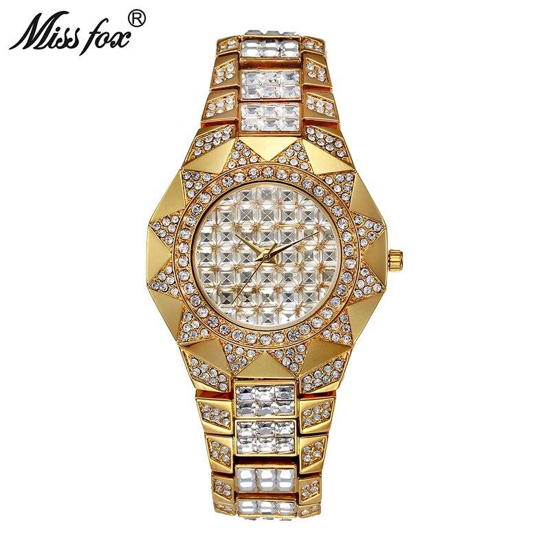 MISSFOX Sun Shape Women Watches Top Brand Japan Quartz Watch Female Baguette Diamond Gold Watch Xfcs Fashion Lady Wrist Watches