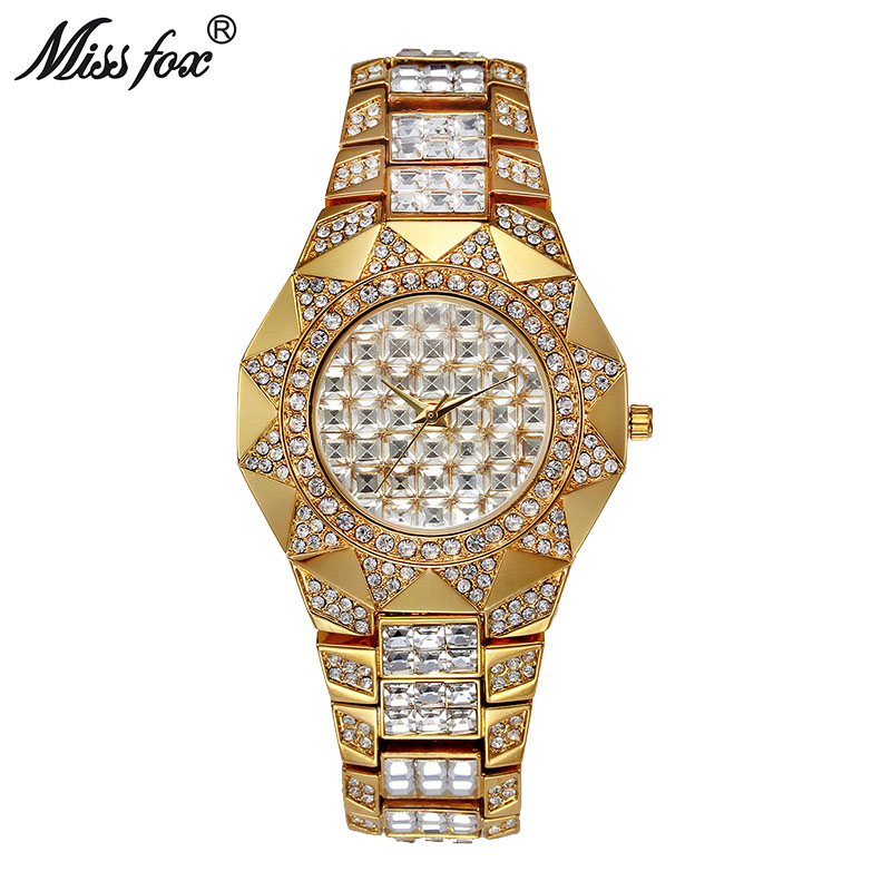 Miss Fox Sun Womens Watches Top Brand Japan Movt Quartz Watch Female Diamond Solar Gold Watch Xfcs Fashion Ladies Wrist Watches цена