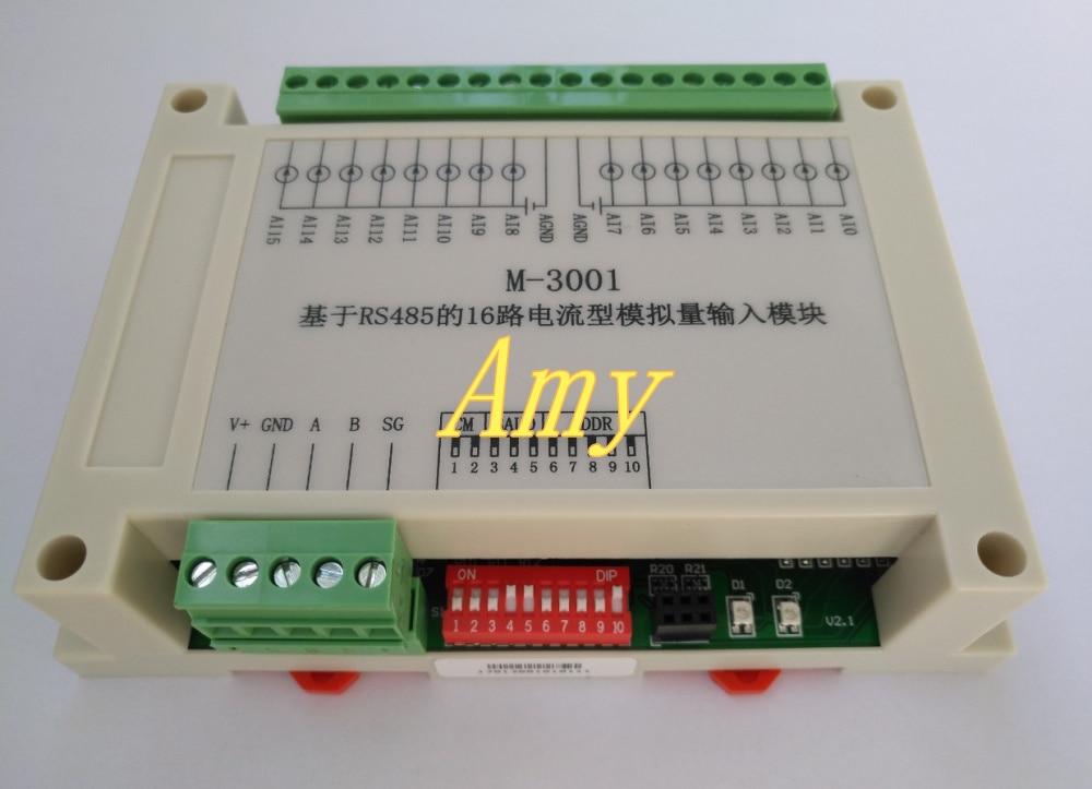 Carte de contrôle d'acquisition ADC entrée de courant 16 voies interface RS485 port série protocole de communication standard Modbus
