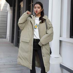 Image 2 - Женская пуховая куртка с капюшоном, длинная хлопковая парка, теплое зимнее пальто, курточка мальчикового кроя, C5074