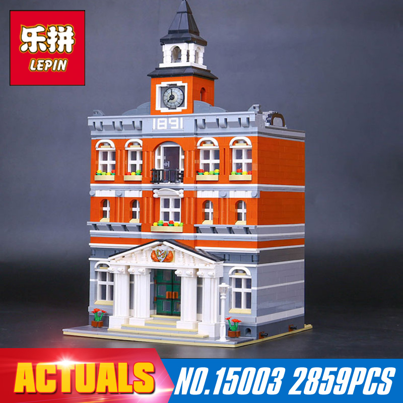 New Lepin 15003 2859Pcs The topwn hall Model Building Blocks Kid Toys Kits compatible with 10224 Educational Children day Gift lepin 02012 city deepwater exploration vessel 60095 building blocks policeman toys children compatible with lego gift kid sets