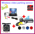 Wireless Video Parking Radar 4 Sensors Kit 3.5 inch Car Rear View  Monitor + LED Rear View Car Camera Parking Assistance