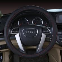 цена на KKYSYELVA Black Car Sport Steering Wheel Cover Leather Auto Steering Covers Universal 38CM wheel covers Car Inter Accessories