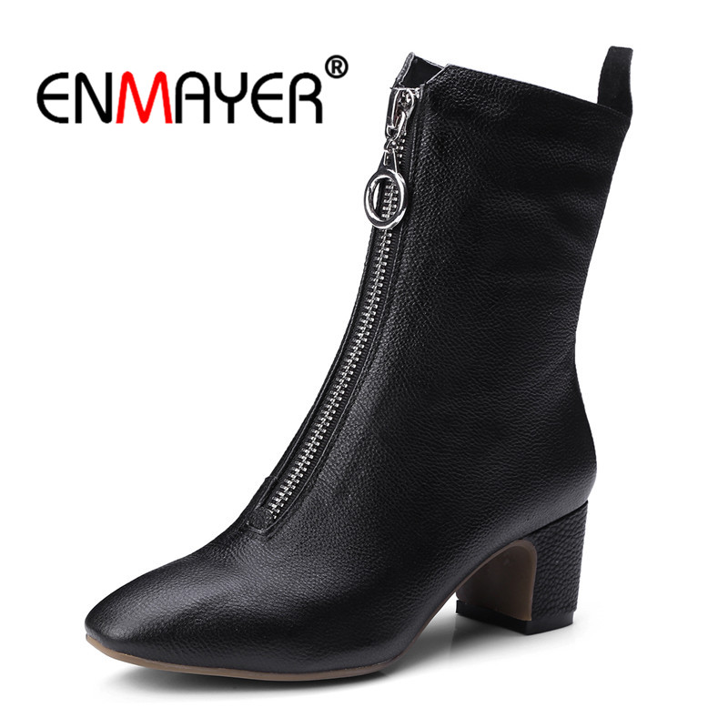 ENMAYER Genuine Leather Women Ankle Boots Square Toe Autumn Winter Shoes Fashion boots Causal Metal Zipper Strange heels CR773