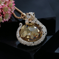 Punk Statement Jewelry Women Austria Crystal Bib Tiger Pendant Long Maxi Necklace Gold Plated 3 Colors