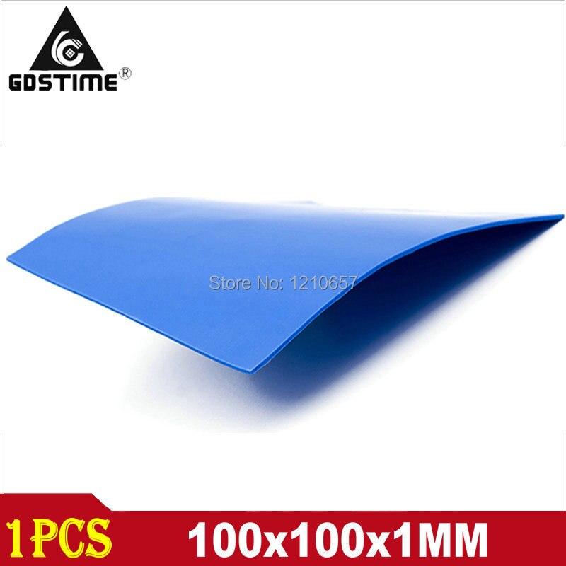 1 stück Blau 100mm x 100mm x 1mm GPU CPU VGA Leitfähigen Silikon Thermische Pad 100x100 x1mm