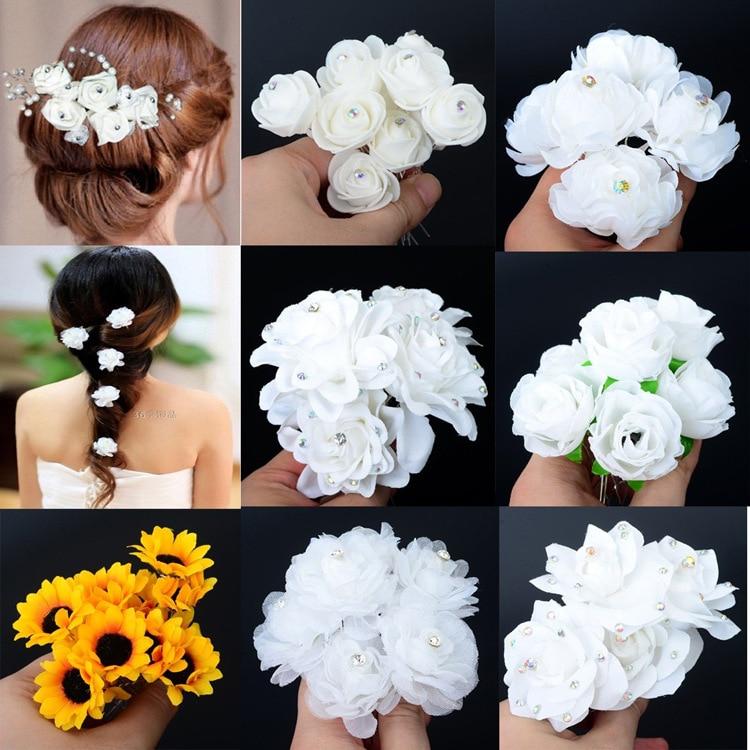 H Hyde 6pcs Wedding Bridal Hairpin White Rose Flower Crystal