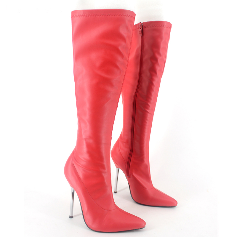 Matte Red Pointed Toe Knee High Boots Chaussure Hiver Femme 2017 New Multi-Color Metal Stilettos High Heels Bottines FemmesMatte Red Pointed Toe Knee High Boots Chaussure Hiver Femme 2017 New Multi-Color Metal Stilettos High Heels Bottines Femmes