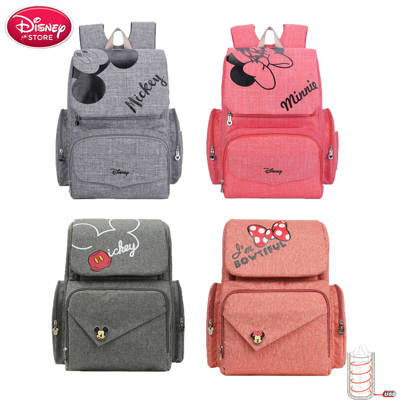 Disney Mickey Minnie Bag Mummy Diaper Bag Safety Lock Baby Anti Lost Wrist Link Large Capacity Backpack Disney Maternity Handbag