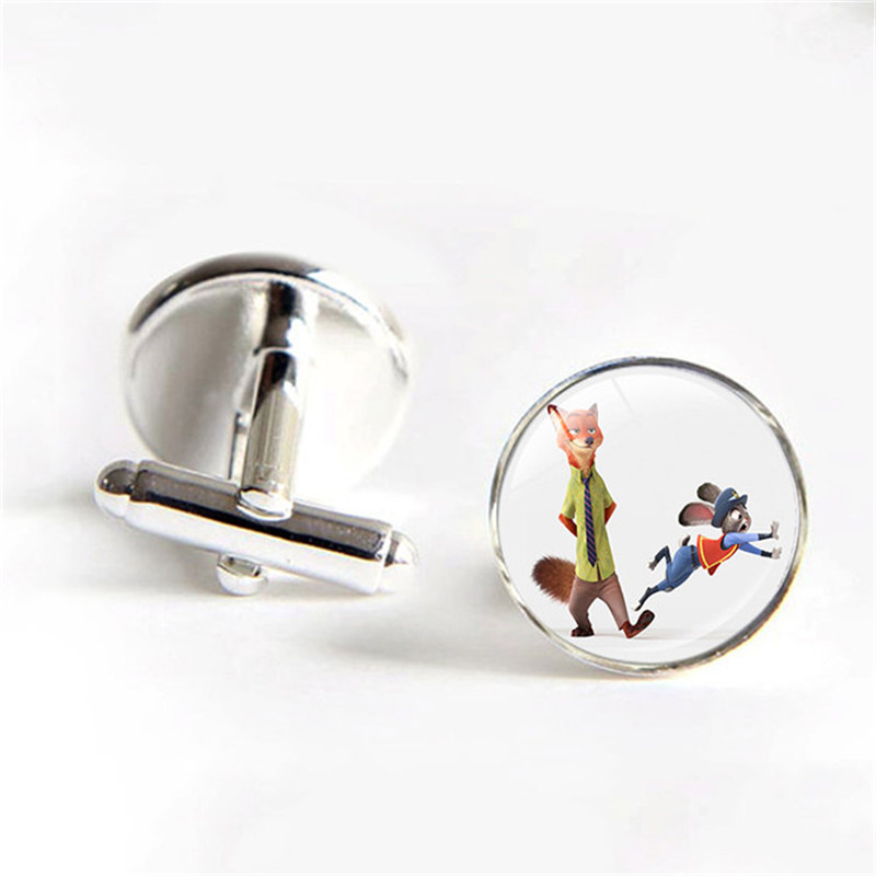 Cartoon Zootopia Movie The Fox Nick and The Police Bunny Rabbit Judy Animals Cufflinks Men Shirt Cufflinks Fathers Day Gifts
