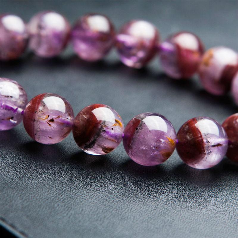 100% натуральный камень ауральит 23 фиолетовый красный, прозрачный 12 мм круглая прозрачная бусина браслет для женщин - 4