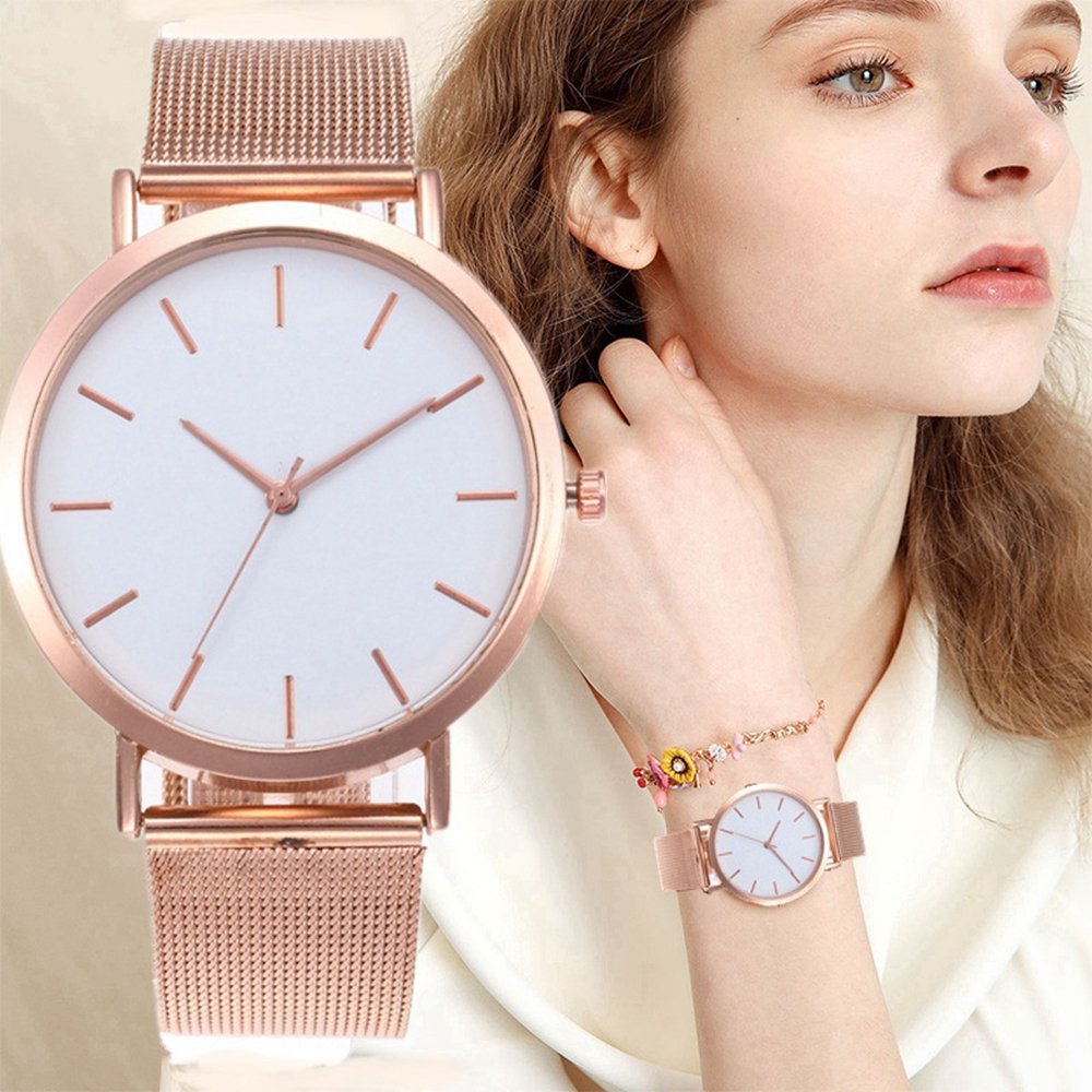 Leecnuo Minimalist Watches Rose-Gold-Watch Stainless-Steel Modern Women's Luxury Quartz