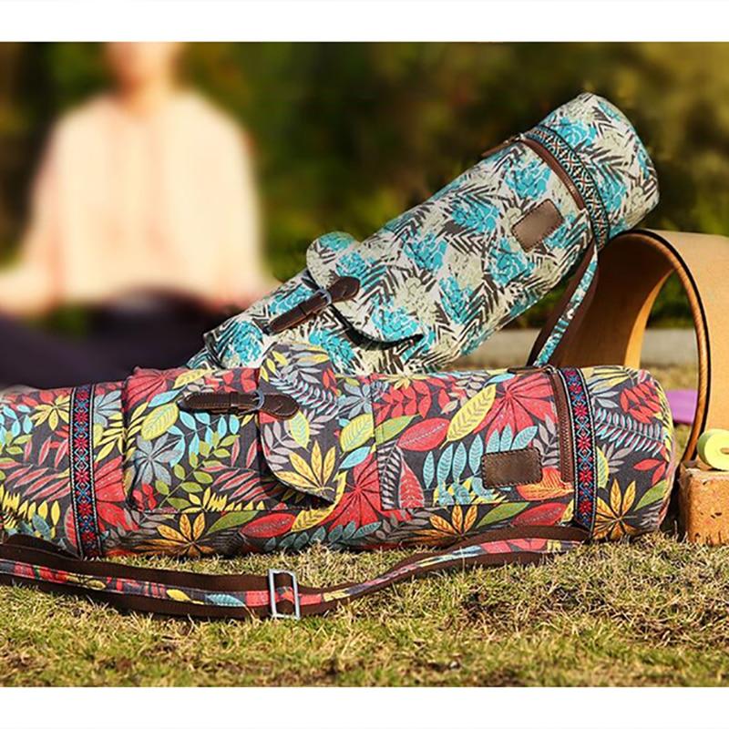 Yoga Mat Bag Carrier Durable Canvas Cotton Yoga Backpack Yoga Bag Carry Strap Drawstring Bags Pilates Mat Bag 71*17 Cm