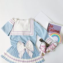 Tonytaobaby Autumn and Winter Dresses New Kids Children's Dresses Light Blue Princess Bow Suit Knitted Beautiful Girls Two Suits(China)