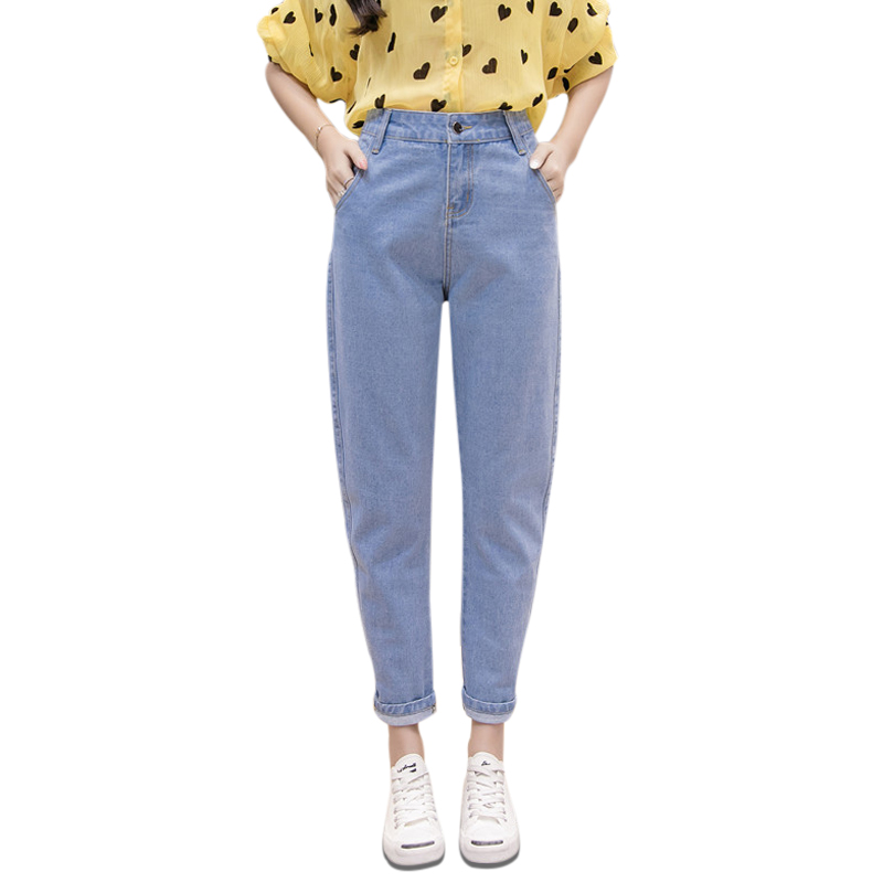 Guuzyuviz Loose 4xl Autumn Winter Jeans Woman Vintage Casual Plus Size High Waist Cotton Elasticity Cuffs Denim Harem Pants Terrific Value Women's Clothing