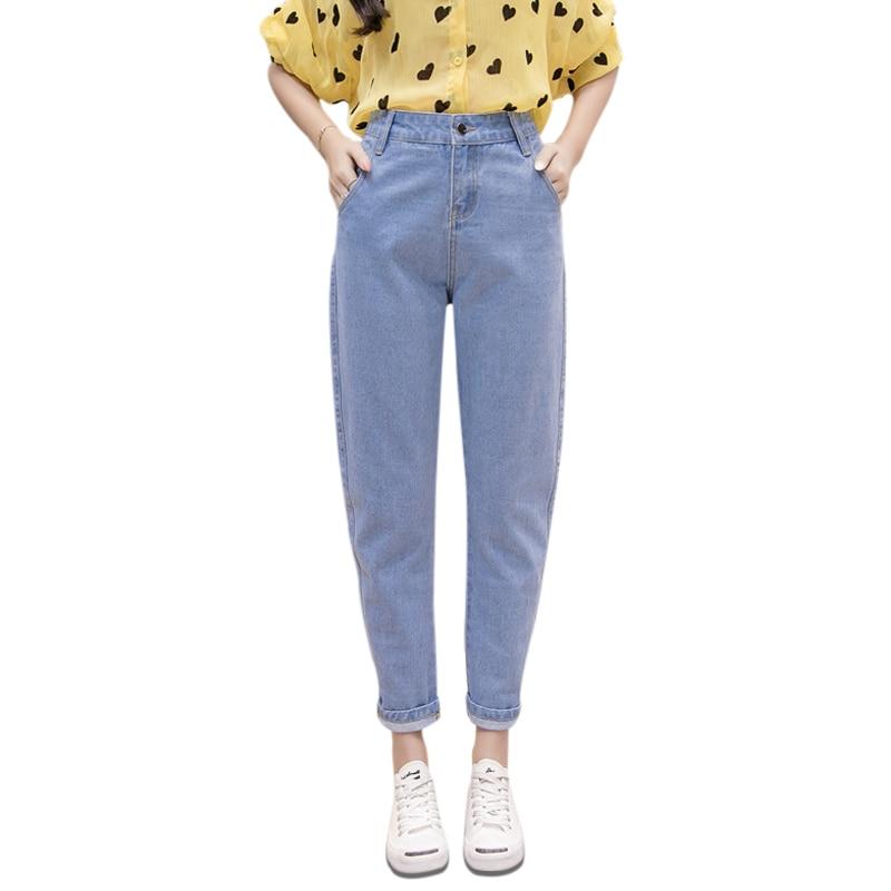 Women Blue Casual High Waist   Jeans   2018 Autumn Winter Celebrity Boyfriend Loose Mom   Jeans   Femme Streetwear Black Denim Pants